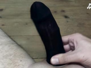 Nylon sock masturbation