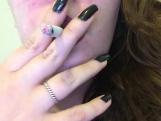 Chubby Goth Brunette Teen Close Up Smoking - Dark Red Lipstick Black Nails