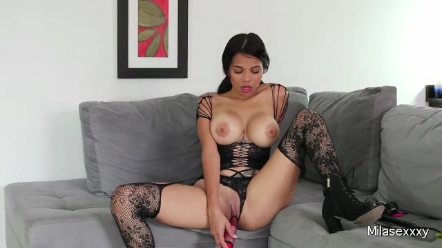 Free tube carabeann sexy Hot colombian mila in sexy lingerie/stockings playing with her pussy n toys