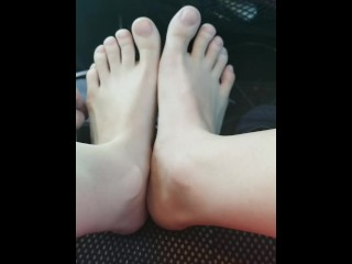 Feet Tease In The Car