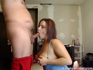 Cock Sucking Teasing On My Knees Tits Out - ALHANA WINTER - NO CUM SHOT