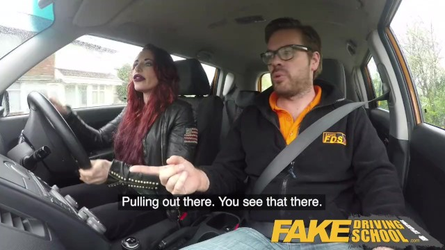 Porn gearstick - Fake driving school crazy hot redhead fucks car gearstick after lesson