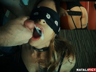 Cum in mouth, mouthfuck & deepthroat after spanking my ass - Natali Fiction