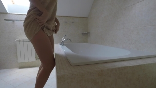 Young girl with big ass rides on dildo in hotel bathroom - Mini Diva