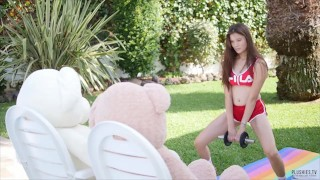 Fitness and Sex with asian girl Miyuki and 2 teddy bears, cum in mouth