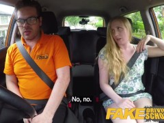 Fake Driving School Ex learner Satine Sparks arse spanked red raw