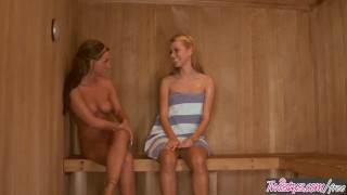 Twistys - - Jessie Rogers , Melissa XoXo -n Love In The Sauna Petite blowjob