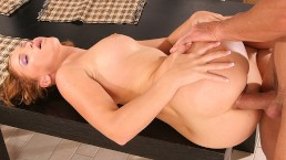 BRUTALCLIPS Caty Campbell Brutally Fucked On The Kitchen Table