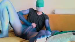 YOUNG GUY IN BLUE SHEER PANTYHOSE ENCASEMENT AND HIS BIG COCK