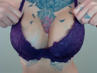Bra Fetish JOI Game - Stroke when Big Tits Bounce - Tattooed Boobs
