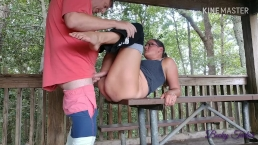 "MILF in yoga pants getting fucked on picnic table - ""DON'T GET CAUGHT!"""