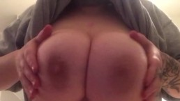 Caught with my tits out in the kitchen!!