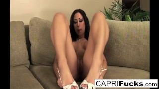 Pussy not with only but her feet sexy plays capri also her wet solo brunette