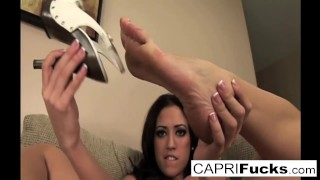 Capri not only plays with her wet pussy but also her sexy feet Motehr step