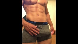 Sexy stud jerking off until he drains his balls Big for
