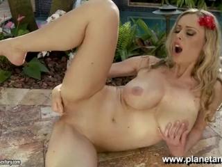 Anita Dark is having fun by the pool