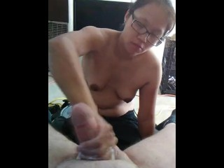 Girl jerking me off and cumming on tits