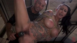 Tattoo Squirt Dynamo Lily Lane Bound in Rope Bondage and Fucked