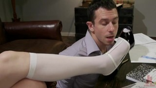 To handle how dick a lady's stockings sucking