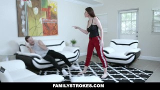 FamilyStrokes - Prankster Peen for Stepsis  big ass tit fucking big tits babe reverse cowgirl cumshot missionary hardcore brunette familystrokes fantasy pussy licking trimmed pussy