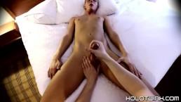 Jacked off twink Evan Stone slurps cum after blowing cock