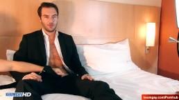 Handsome dude's dick massage! (hetero insurrer seduced for gay porn)