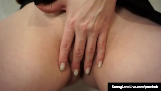 Award Winning Blonde Sunny Lane Masturbates Standing Up! Tushy butt