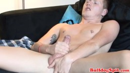 Scally british stud strokes his fat cock