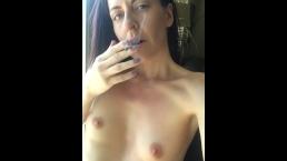 Smoking a Joint Topless - Girl Next Door Smoking Weed
