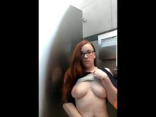 Alt girl Lily O'Riley public masturbation in airport bathroom