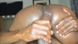 Her ebony creampie riding BIG BLACK DICK