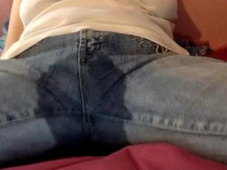 Wetting myself and cumming through jeans