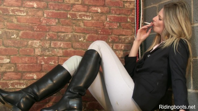 British teen boots Stable girl rebecca smokes and strips