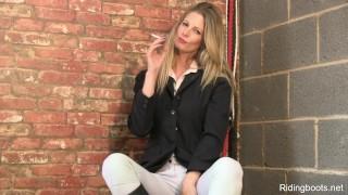 Stable girl Rebecca smokes and strips porno