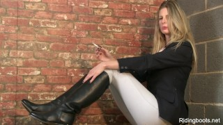 Rebecca and stable girl strips smokes role high
