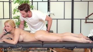FantasyMassage Sarah Vandella Massaged While On Call With Husband