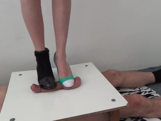cock crush with two different high heels - CBT Trample