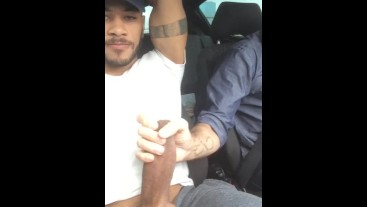 Paying the uber driver!