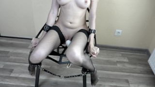 Tied girl and magic wand vibrated her to orgasm convulsion on magic chair
