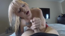 This Blonde Hottie is addicted to sucking cock