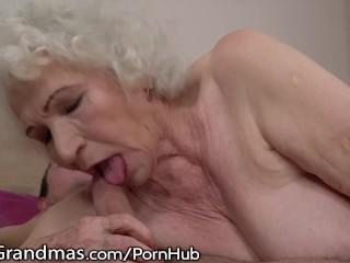 LustyGrandmas Sensual Granny Uses Hairy Box to Ride Young Dick