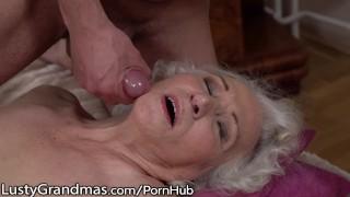 LustyGrandmas Sensual Granny Uses Hairy Box to Ride Young Dick In reverse
