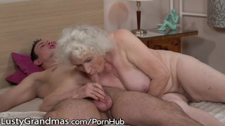 LustyGrandmas Sensual Granny Uses Hairy Box to Ride Young Dick porno
