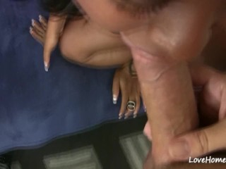Pleasuring his big hard cock before having sex