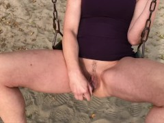 WIFE WET SHAVED PUSSY ON SWING AT PLAYGROUND