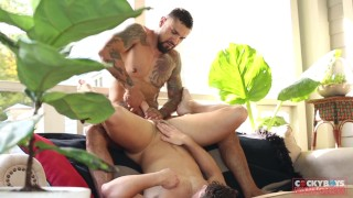 Boomer Banks Dominates Devin Franco with his BIG Uncut Cock RAW Muscle hunk