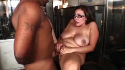 WORKING GIRL! BIG BOOB BRUNETTE LOVES INTERRACIAL BIG BLACK COCK SHORTY MAC