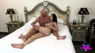 Cocks peach ladyboy takes two cock anal