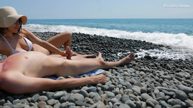Veronika bdsm Young stranger made hot handjob on a wild nude beach, public dick massage