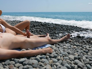 Young Stranger Made Hot Handjob On A Wild Nude Beach, Public Dick Massage